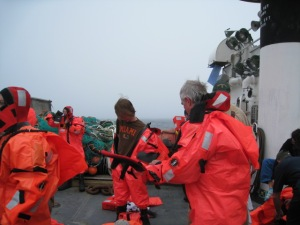 Here we are during a safety drill donning our survival suits.