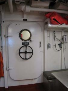 One of the doors on the ship
