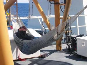 A nap in a hammock is just what Zach Baldwin needs
