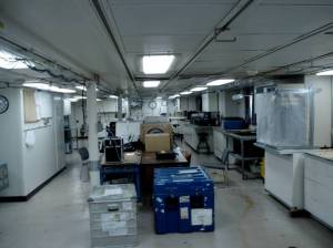 One of the science labs with equipment ready to be unpacked