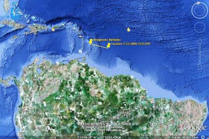 The course we have taken since we departed from Bridgetown