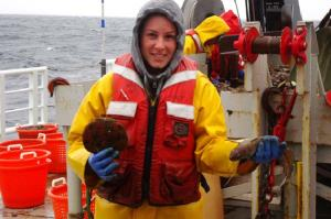 Here I am holding a scallop and a Red Hake.