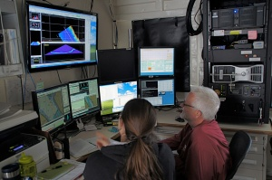 Data from the ship's multibeam sonar comes to the Platting Lab