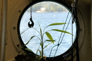 A porthole window offers a majestic view.