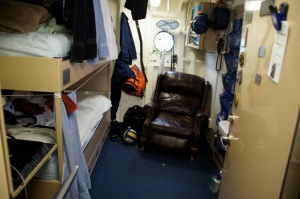 A cozy state room at sea