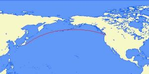Great circle rout from Tokyo to Seattle