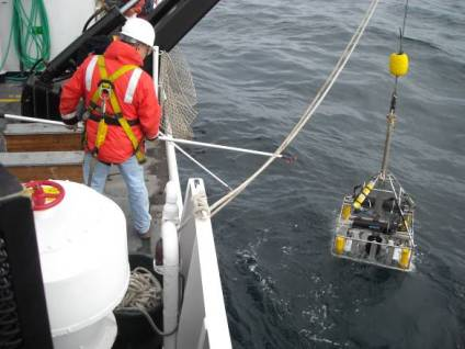 SeaBoss being deployed. It is suspended from the J-Frame and swung outboard. Tending the SeaBoss can be hazardous so crew members are tethered to the deck.
