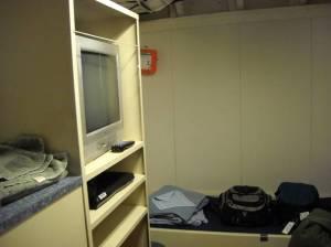 Hanging locker and fold-away desktop.