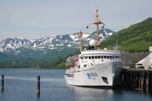 The FAIRWEATHER alongside the USCG Pier, Kodiak