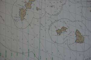 A nautical chart of the area the Fairweather will be surveying, called the Shumagin Islands.