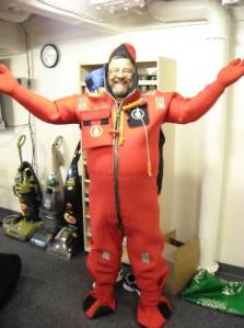 "Here I am in my immersion suit, also called a ""Gumby"" suit."