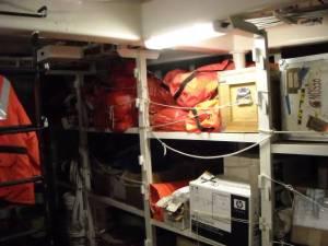 Hazardous materials remediation equipment in the quartermaster's storage.