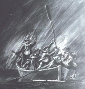 Drawing of the Ewing mutiny from 1849