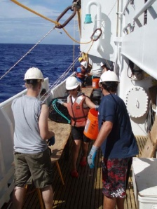 Hauling back lobster traps in the pit aboard OSCAR ELTON SETTE