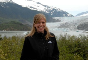 NOAA Teacher At Sea, Clare Wagstaff, at the Mendenhall Glacier near Juneau, AK