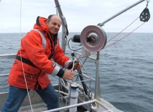 NOAA Teacher at Sea, Mark Friedman, helps deploy the CTD prior to surveys in SE Alaskan environs.