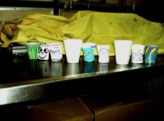 The results of what happened to the cups at a depth of 200 meters. The white cups are the original size.