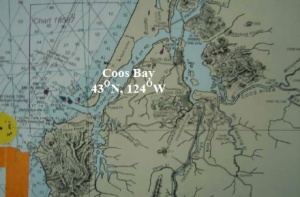 A nautical chart of the Coos Bay area