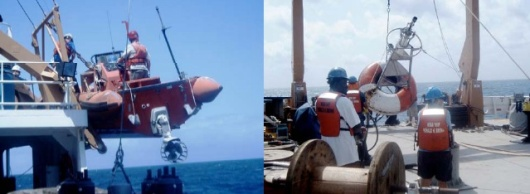 Preparing to service a buoy (left) and recovered buoy on deck (right)