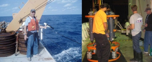 Here I am deploying an XBT (left) and collecting seawater samples from the CTD (right)