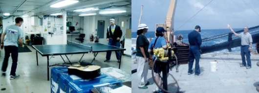 A little ping pong in the main lab (left) and flare demonstration (right)