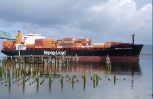 Cargo ship arriving at Astoria port
