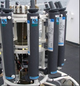 Open Niskin bottles on CTD platform