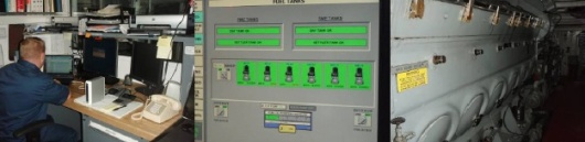 Garret in control room, control room gauges, and the main engine