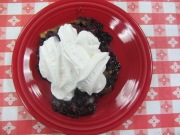 Blueberry cobbler with whip cream