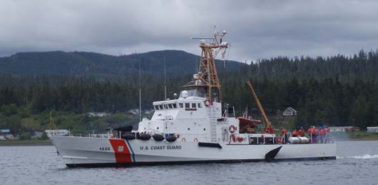 USCG Cutter Anacapa. It towed us from Warren Channel (55054'N 133049'W) to Kake (56057'N 133056'), 90 nautical miles to Juneau!