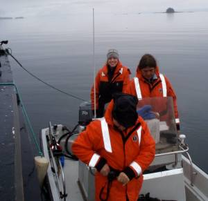 NOAA Teacher At Sea Clare Wagstaff, Jon and Dave getting ready to depart the COBB in the JC-1.