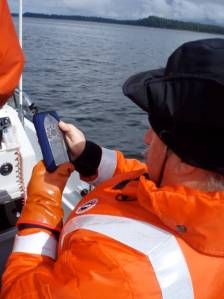 Dave Withrow uses the GPS to record new sites as well as plot routes to old sites.