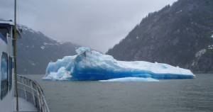 A massive floating iceberg located in Tracy Arm fjord.