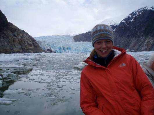 Teacher at Sea, Clare Wagstaff in front of South Sawyer glacier.