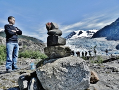 Marker on the trail to Mendenhall Glacier with Ensign Steven Wall