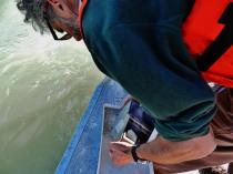 HSST Barry Jackson analyzing sea floor sample