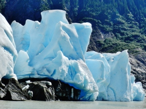 At the toe of Mendenhall Glacier, just before a calving
