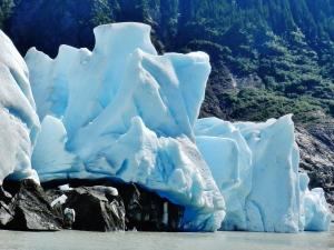 At the toe of Mendenhall Glacier, just before a calving