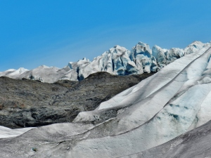 The west side of Mendenhall Glacier, viewed from below