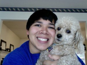 Mr. Velarde & Rudy (the family poodle)