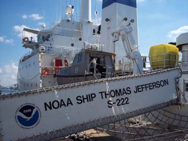 The NOAA Ship THOMAS JEFFERSON awaits a necessary part for the crane that lifts the fast rescue boat, then we set sail