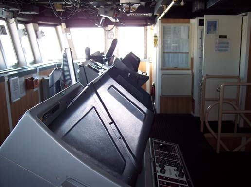 A closer look at the navigational equipment on the bridge