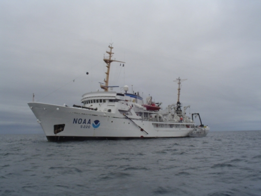 The NOAA ship FAIRWEATHER off the coast of the Shumagin Islands.