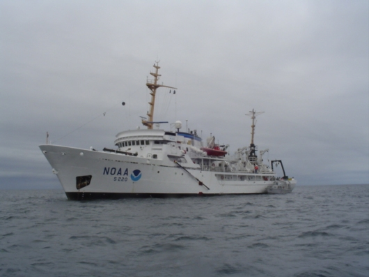 The NOAA ship FAIRWEATHER off the coast of the Shumagin Islands.