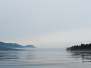 Fog in the morning at the mouth of Bay of Pillars
