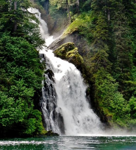 Beautiful waterfall in Red Bluff Bay
