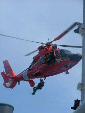 A helicopter emergency drill.