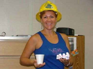 TAS Braun displays what the pressure of water will do to Styrofoam cups!