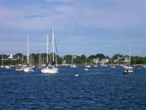 Harbor scene in Woods Hole, MA, taken from aboard the DELAWARE II.