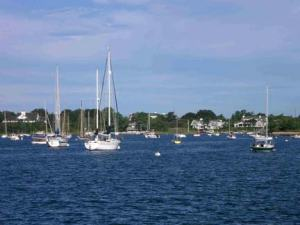 Harbor scene in Woods Hole, MA, taken from aboard the DELAWARE II.